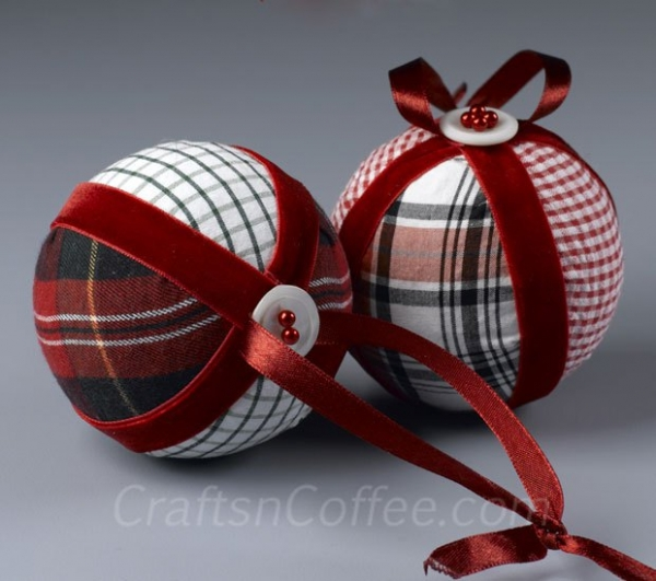 Tutorial No Sew Scrap Fabric Ornaments Sewing