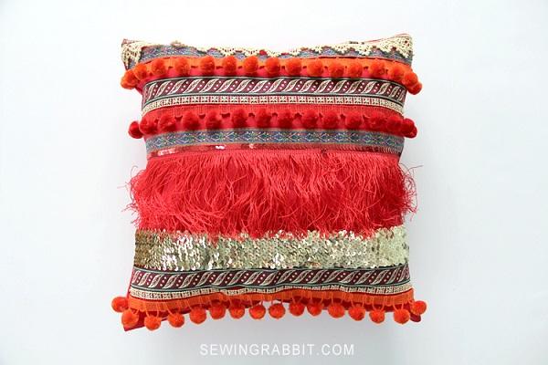Tutorial: Bohemian ribbon throw pillow