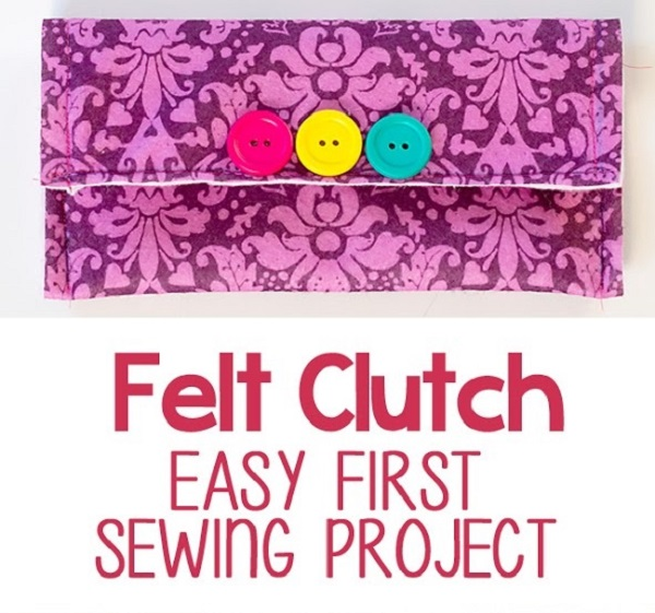 Tutorial: Easy felt clutch for a beginner sewing project