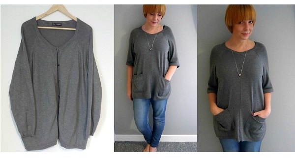 Tutorial: Refashion an oversized cardigan to a chic sweater tunic