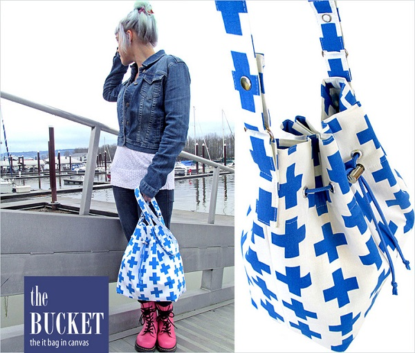 Free pattern: Cinch top canvas bucket bag