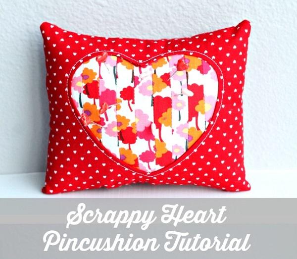 Tutorial: Scrappy heart reverse applique pincushion