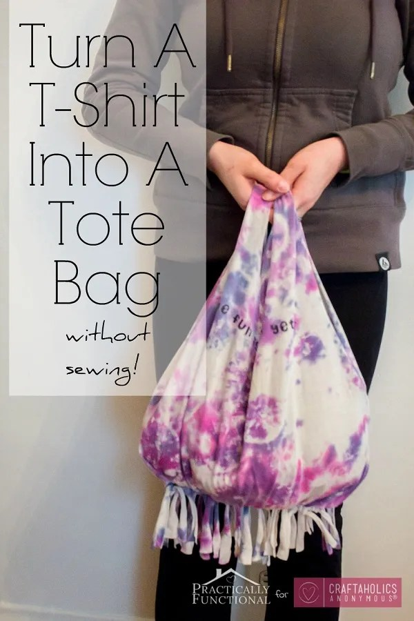 Tutorial: No-sew fringed t-shirt tote