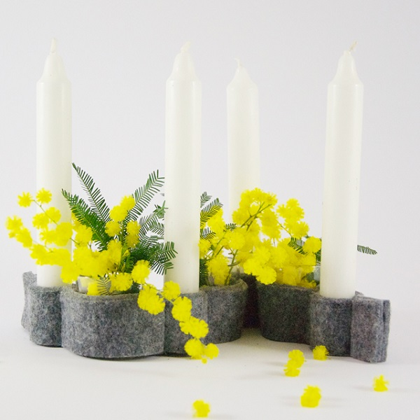 Tutorial: Felt candle and vase holder centerpiece