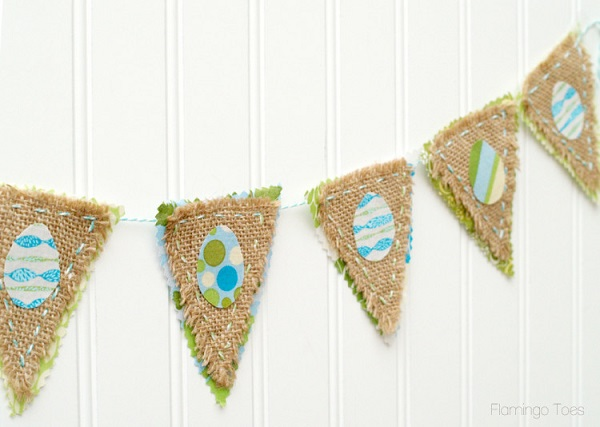 Tutorial: Easter egg bunting from burlap and fabric