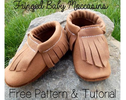 Free pattern: Fringed baby moccasins