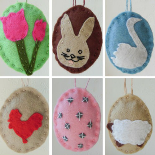 Free pattern: Felt Easter egg ornaments