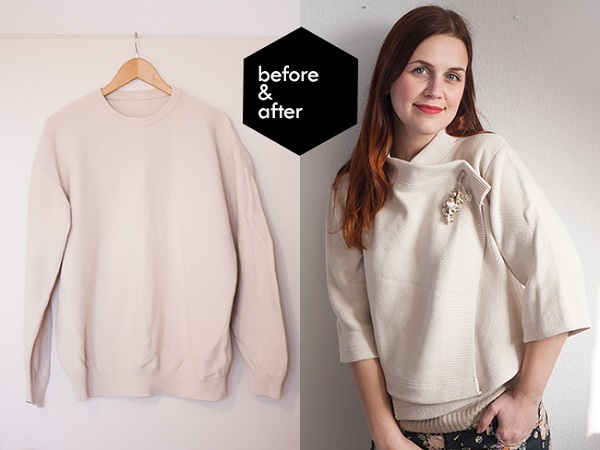 Tutorial: Boxy cardigan refashioned from a pullover sweater