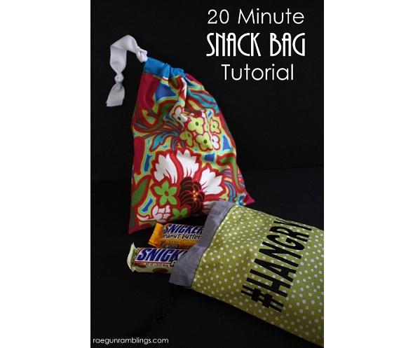 Tutorial: Easy 20-minute drawstring snack bag
