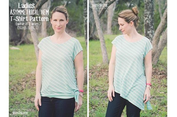 Free pattern: Womens asymmetrical top that can be worn 2 ways