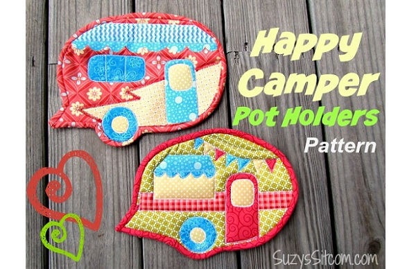 Free pattern: Happy Camper Pot Holders – Sewing