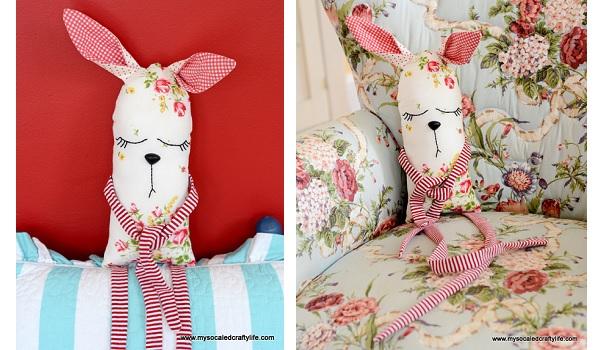 Tutorial: Vintage hanky bunny softie