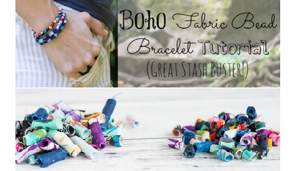 Tutorial: Boho scrap fabric bead bracelet