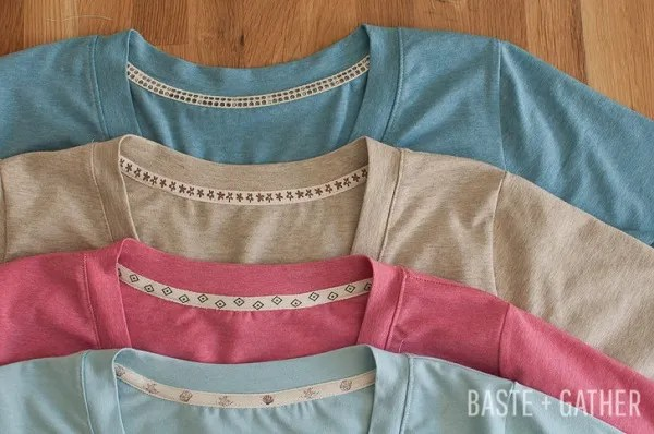 Tutorial: Cover a t-shirt neckline seam with twill tape