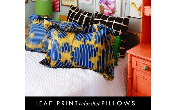 Tutorial: Metallic reverse stencil leaf print pillowcases