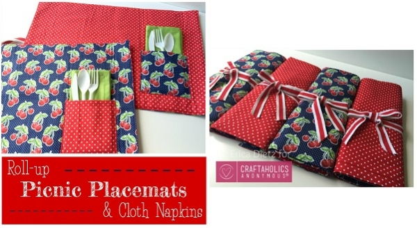 Tutorial: Roll-up picnic placemats and matching napkins