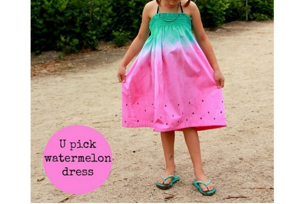 Tutorial: Dip dyed watermelon sundress