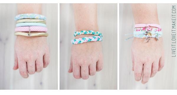 Tutorial: Bias binding fabric bracelets, 3 ways