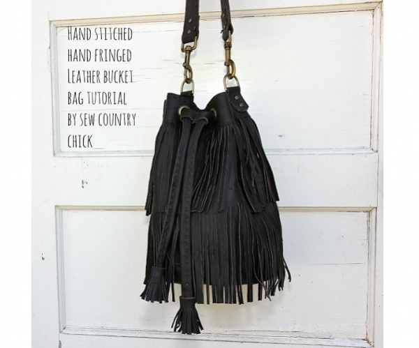 Tutorial: Fringed leather bucket bag
