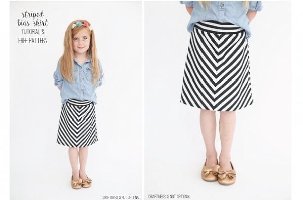 Free pattern: Girls' chevron knit skirt