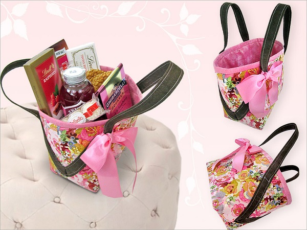 Tutorial: Fabric basket or tote with angled handles