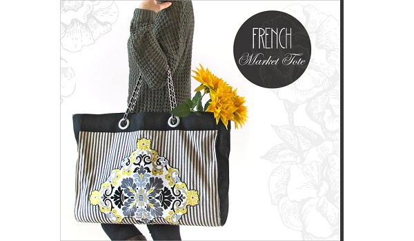 Tutorial: Jumbo French market tote with Chanel-inspired chain handles
