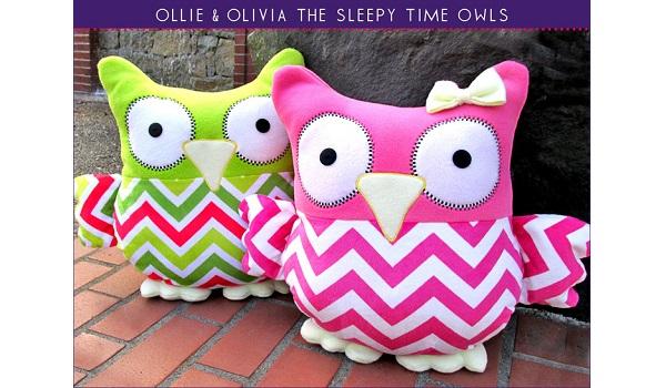 Free pattern: Ollie & Olivia Sleepy Time Stuffed Owls