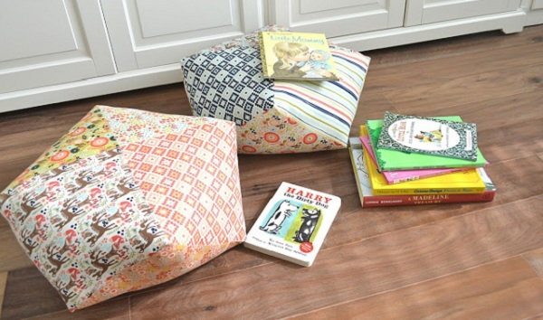 Tutorial: Patchwork floor pillows from pre-cut fabric squares