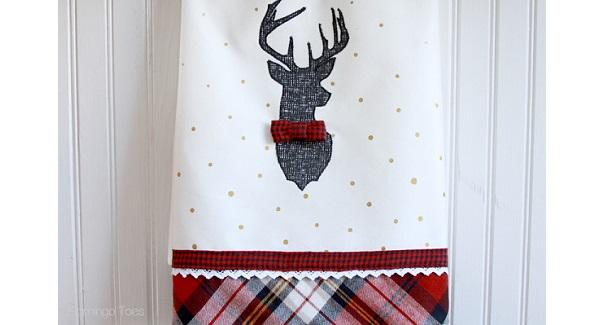 Tutorial: Plaid deer dish towels