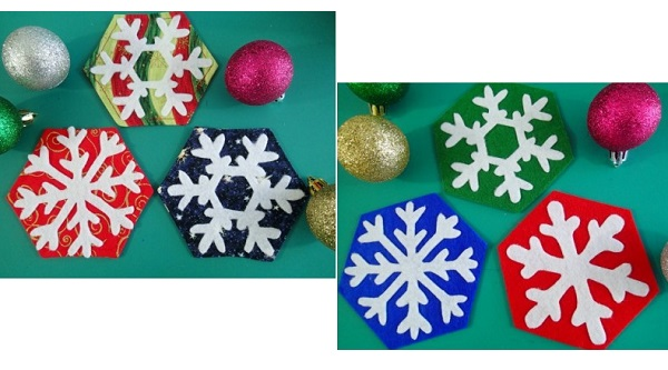 Tutorial: Felt or fabric snowflake Christmas coasters