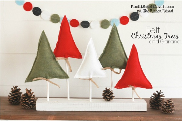 tutorial felt and wood christmas trees