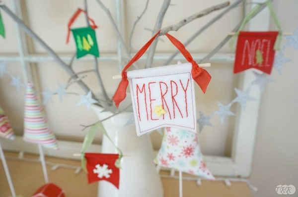 Tutorial: Mini felt banner Christmas ornaments