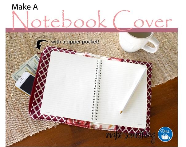 Tutorial: Fabric notebook cover with a hidden zipper pocket