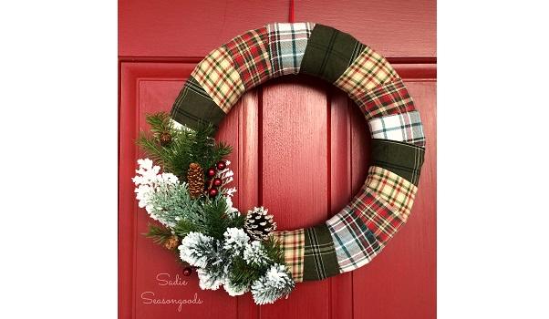 Tutorial: Easy plaid flannel holiday wreath