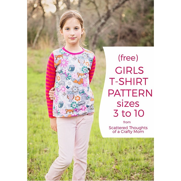 Free pattern: Girls' long sleeve and 3/4 sleeve t-shirt