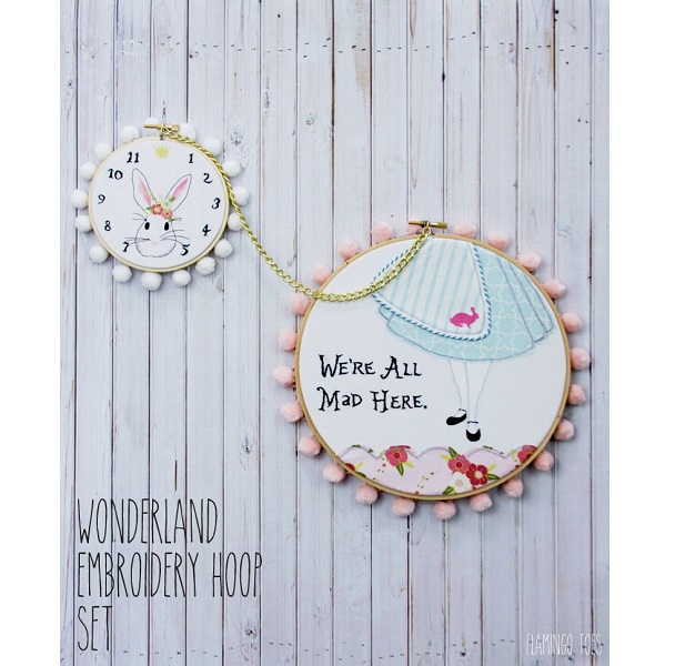 Free pattern: Alice in Wonderland embroidery hoop set
