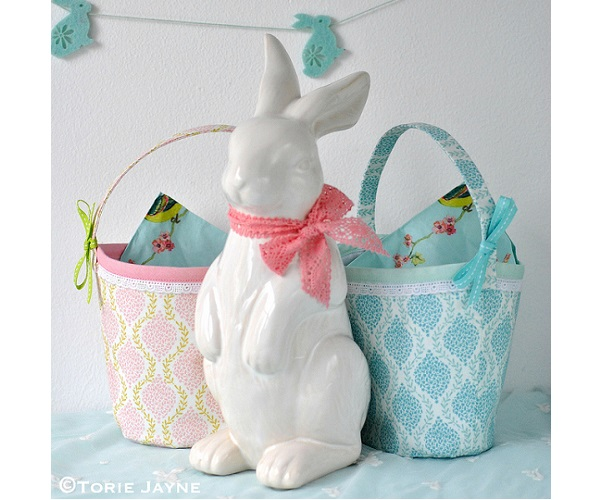 Free pattern: Pretty fabric Easter basket