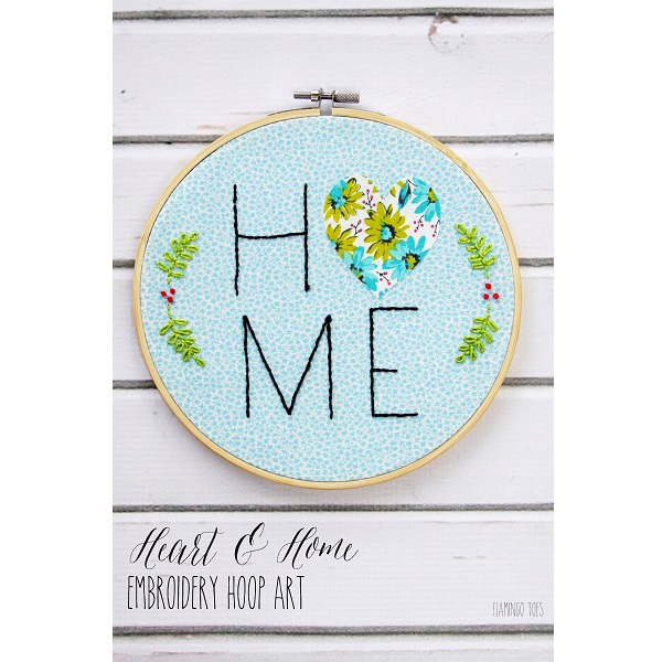 Free pattern: Heart and Home hoop art