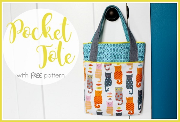 Free pattern: Pocket tote library bag