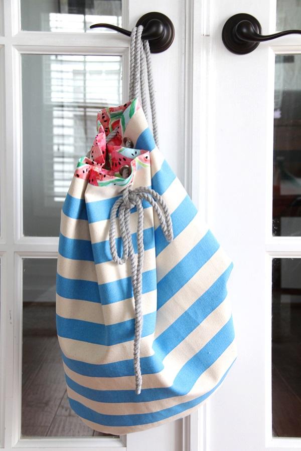 Tutorial Rope And Grommet Beach Bag Sewing