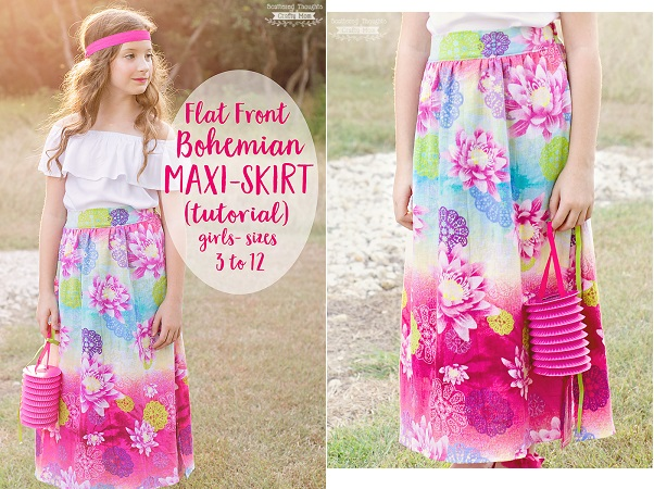Tutorial: Flat front Bohemian maxi skirt for girls – Sewing