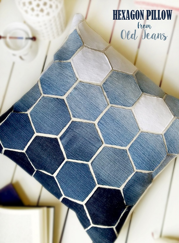 Tutorial: Recycled denim hexagon pillow