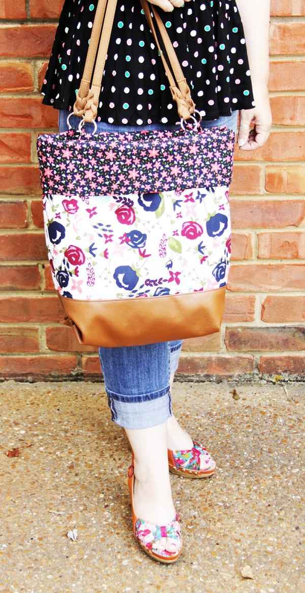 Tutorial: Posy Garden leather and fabric bag