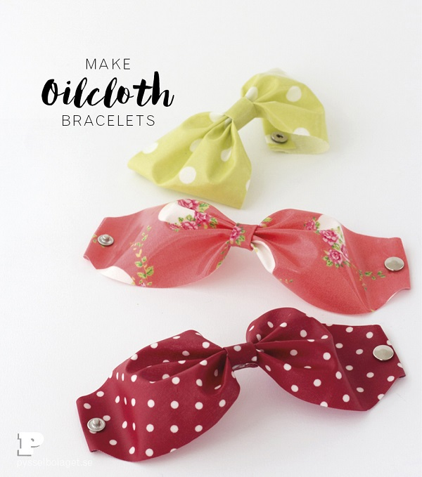Tutorial: No-sew oilcloth bow bracelets