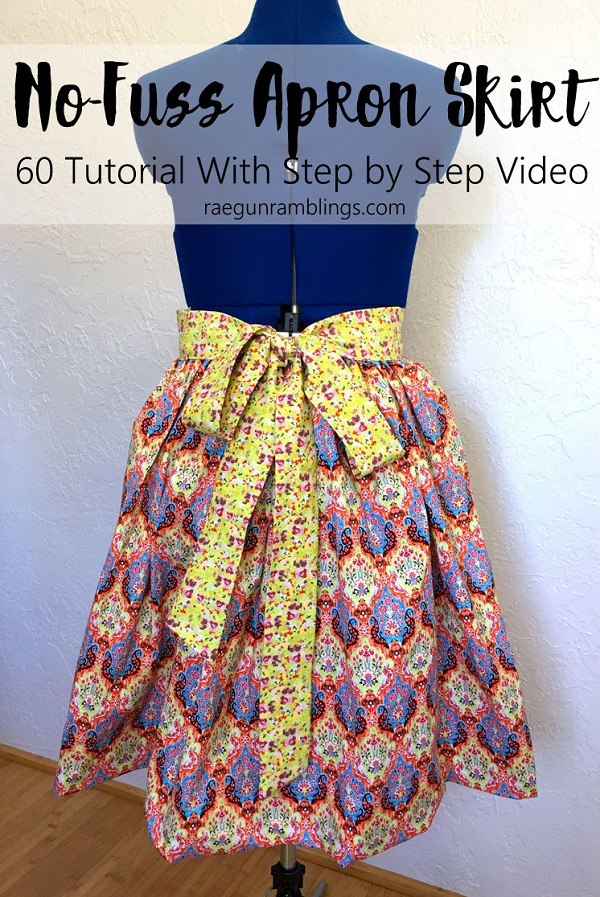 Tutorial: Apron skirt with a tie sash and a closed back