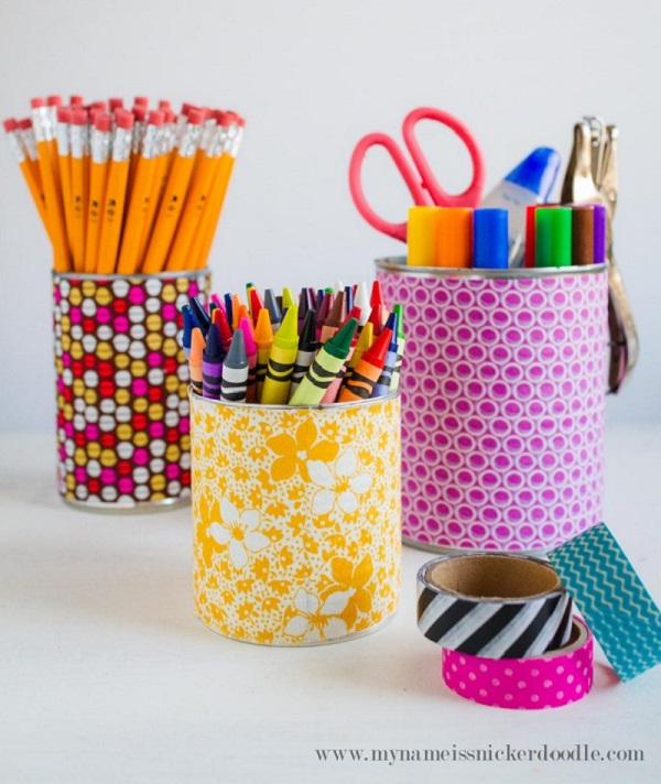 Tutorial: Fabric covered can desk organizers