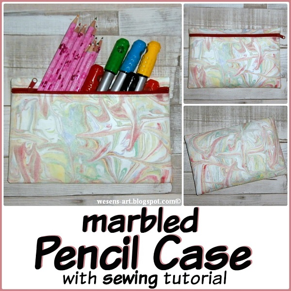 Tutorial: Marbled pencil pouch