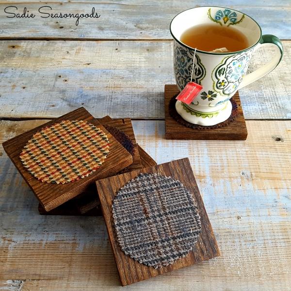 Tutorial: No-sew tweed and salvaged wood coasters