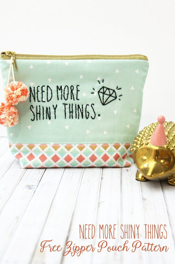 Free pattern: Need More Shiny Things zip pouch