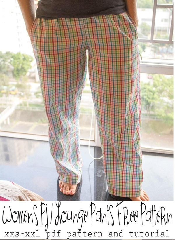 Free Pattern Women Pajama Lounge Pants Sewing